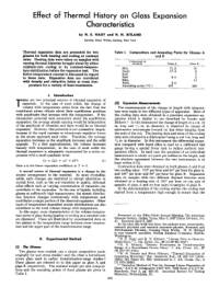 Effect of Thermal History on Glass Expansion Characteristics